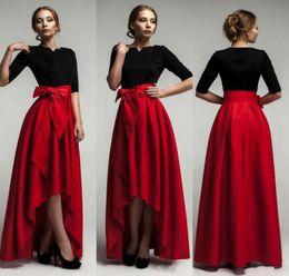 Cinto de tafetá on-line-Elegante Vermelho Tafetá Saias Baixas Altas Para A Mulher 2015 Nova Moda Cinto De Cintura Até O Chão Meninas Longas Saias Custom Made Formal Vestidos de Festa