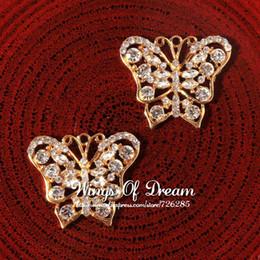 Wholesale Bling Flower Flatback - (30pcs lot) Gold Handmade Vivid Bling Metal Rhinestone Butterfly Charms Alloy Crystal Flatback Bow Flower Wedding Pendant Charm
