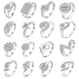 Wholesale Cute Beautiful Ring - 23 Styles Mixed STYLES MIX SIZES 925 sterling Silver fashion charm Beautiful cute Crystal Stone Wedding ring jewelry