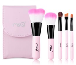Wholesale Hair Brush Travel Bags - 5Pcs Macaron Pink Synthetic Hair Travel Makeup Brush Set in Clutch Bag - Includes Power Blush Eyeshadow Eyebrow Lip Brushes