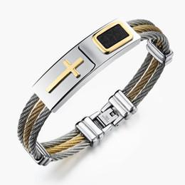 punk kreuz armband gold Rabatt Großhandels- Armband der Männer 3Rows Draht-Ketten-Edelstahl-Armband-Armband-Punkrock-Kreuz-Armband-Männer Christian Men Jewelry Wholesale