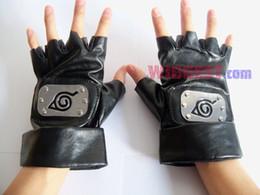 Wholesale Naruto Fingerless Gloves - Wholesale-New Naruto Kakashi Leaf Village Ninja Kakashi Sasuke Cosplay Gloves PU Leather Glove