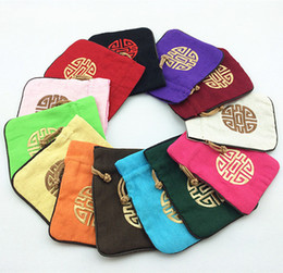 Wholesale Chocolate Brown Jewelry - Embroidered Small Large Cotton Linen Wedding Candy Gift Bags Chocolate Drawstring Chinese style Packaging Jewelry Coin Storage Pouches