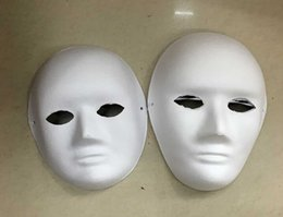 Wholesale White Pulp Mask - 2016 new diy Hand-painted Pulp Plaster Covered Paper Mache Blank Mask Female Male Mask with Bungee cord 30pcs Lot