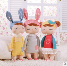 "Wholesale Metoo Cartoon - 13""Metoo Cartoon Stuffed Animals Angela Rabbit Plush Toy Doll Lace Baby Doll with Sleep Plush Baby Toys Girls Birthday Christmas Gift 1141"