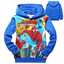 Wholesale Spiderman Sweatshirt - 60pcs AAA+ quality 100% cotton kid girl boy spiderman sweatshirts 6 color 6 size print hoodies coat jacket outwear christmas gift top