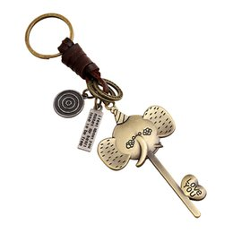 Wholesale Nose Rings Men - Retro Fashion Alloy Elephant Key Rings Long nose elephant leather keychain Couples Lover jewelry gifts key chain