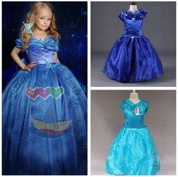 Wholesale Wholesale Prom Dresses For Girls - Cinderella Dress for Kids Girls Prom Dress Cosplay Costume Halloween Fancy Dress Cinderella Movie Dress 2 Colors
