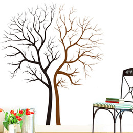 Wholesale vinyl wall tree decals - Two Naked Trees Wall Art Mural Decal Sticker Living Room Bedroom Background Loving Tree Wall Decor Poster 85 x 100CM