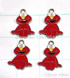 Wholesale Sesame Street Jewelry - Lot 100 pcs Red Sesame Street Charms Jewelry Making Pendants Gifts FREE SHIPPING 0501#