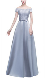 Wholesale Grey Evening Gown Jacket - Fashion Grey Long Evening Dresses New Sexy Prom Formal Dress Boat Neck Satin Lace Sashes A-Line Evening Party Gowns Plus Size