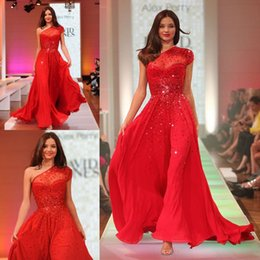 Wholesale Short Chiffon One Shoulder - Red One Shoulder Prom Dresses 2016 Sequins A Line Chiffon Floor Length Short Sleeve Backless Sexy Formal Celebrity Evening Party Gowns