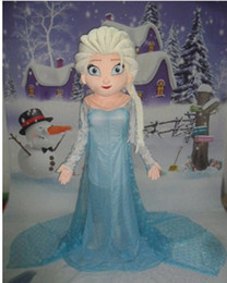 Wholesale Princess Mascot Costumes - New Style Elsa Mascot Costume From Frozen Cartoon Princess Elsa Performing costumes walking mascot costumes for adult festival fancy dress