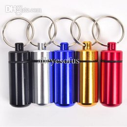 Wholesale Stainless Steel Pill Shaped - Wholesale-key holder AluminumWaterproof Pill Shaped Box Bottle Holder Container llaveros chaveiros Keychain Keyring drop shipping
