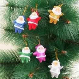 Wholesale Coloured Light Pendants - 6Pcs Light Christmas Decorations Colorful Santa Claus Xmas Tree Ornaments Small Colour Power Pendants X'mas Decorations 10sets lot