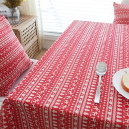 Nappes rouge en coton en Ligne-Nappe De Cerf Rouge Cerf Arbre De Noël Décor Couverture Rayure Coton LinenTable Tissu Coton Linge De Table Nappes De Noël Nappes De Table