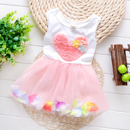 Wholesale Colour Heart - Summer kids clothes lace heart sleeveless colour petal princess dresses Baby Tutu Dresses Sleeveless Bowknot Kids Vest Princess Dress