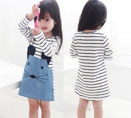 Wholesale Full Free P - Baby Girls Dresses Girls Stripe Dress Summer Long Sleeve Mouse Dress 5 p l free shipping