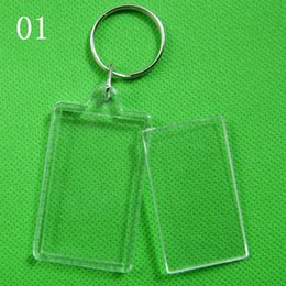 Wholesale Clear Plastic Photo Keychains Wholesale - DHL Free shipping Blank Acrylic Keychains key chains Insert Photo plastic Keyrings Christmas gift 01-04