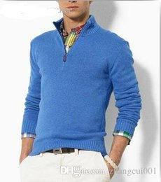 Wholesale Brown Cardigan Sweaters - Wholesale-new arrival cardigan v neck polo sweater, men cotton casual coat, fashion brand knitted sweater half zipper jumper