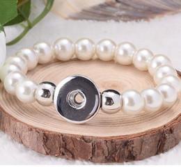 seil snap armbänder Rabatt 8 MM Glas Perle 15 cm Länge Elastische Seil Druckknopf stretch Armband 18mm Schmuck für Kinder 100 Teile / los