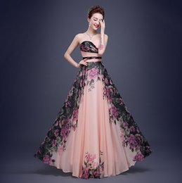 Wholesale Ellie Saab Evening Gowns - Graceful Ellie Saab Dresses Evening Wear Printed Strapless Sleeveless Evening Gowns Floor Length A-Line Prom Dress
