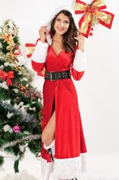 Wholesale Santa Claus Adult - Adult Women Sexy Santa Miss Claus Red Long Lingerie Gown Sexy Christmas Costume Dress S7161 Winter Fantasy Robe Gowns+Hood+Leg Warmers