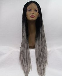 Wholesale Grey Synthetic Wigs - fashion ombre black grey wig synthetic lace front braided wig heat resistant fiber hair wig for women free shipping