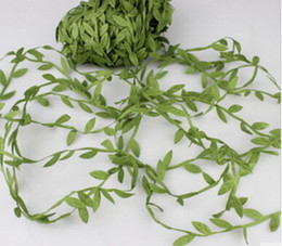 Wholesale Headband Garland - Brand new 20m Artificial Green Flower Leaves Rattan DIY Garland Accessory For Home Decoration hairbands headband hairflowers