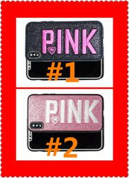 Wholesale Glitter Iphone Phone Cases - Stocking!Fashion Design Glitter 3D Embroidery Love Pink Phone Case For iPhone X, iPhone 8, 7, 6 Plus