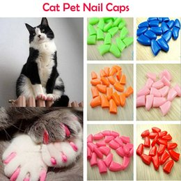 Wholesale Nail Caps Claws Cat - Lots 100pcs Soft Cat Pet Nail Caps Claw Control Paws off + 5pcs Adhesive Glue 14 Colors Size XS S M L Free Shipping