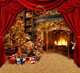 Wholesale Free Print Backgrounds - Free Shipping 5X7ft Christmas Warming House Digital Computer Printed Vinyl Backdrop Senior Studio Backgrounds Photography Backdrops