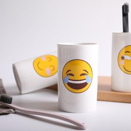 Wholesale Cartoon Poop - 6 Styles Lovely Smiling Face Emoji Mug Porcelain Poop Shit Cup Cartoon Amused And Sad Cool Couple Mugs Coffee Cups CCA8361 60pcs