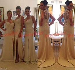 Wholesale Dresses Made Usa - 2017 Free Shipping New Brazil Portugal USA Style Unique 2 Straps Cover Sheer Back Slit Mermaid Lace Beaded Long Bridesmaid Dress