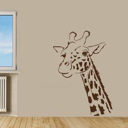 Wholesale Black Giraffe - Wall Decals Giraffe Head Animal Kids Room Vinyl Sticker Murals Wall Decor