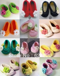 Wholesale Babies Beautiful Crochet - Mix colors can choose*new Beautiful flowers crochet shoes cheap shoes baby wear  first walker shoes cotton yarn