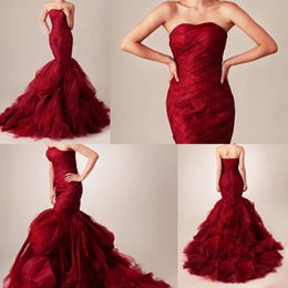 Wholesale Drop Waist Mermaid - 2015 Red Wedding Dresses Sexy Mermaid Strapless Sleeveless Dropped Waist Lace up Tiered Skirt Chapel Train Handmade Organza Bridal Gowns