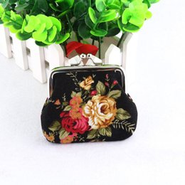 Wholesale Cotton Fabric Rose Pattern - Women's Rose Pattern Mini Coin Purse Cotton Printed Bag Wallet Pocket Fashion Hot Selling