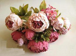 Wholesale Silk Flower Peony Centerpieces - Artificial Peony Bunch 48cm 18.8 inch Silk Flowers Simulation European Peony Flower with Hydrangea Flower for Wedding Centerpieces Decor SP0