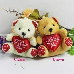 Wholesale Cheap Teddy Bear Sales - 20 pcs lot hot sale 11cm mini plush bear toys with heart(beige, brown), cheap wholesale sutffed bear toys, 2 colors to choose t