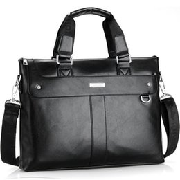 Wholesale Leather Satchel Briefcase Men - 2018 Men Casual Briefcase Business Shoulder Bag Leather Messenger Bags Computer Laptop Handbag Bag Men's Travel Bags
