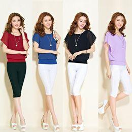 Wholesale Chiffon Overlays - New Fashion Women T-Shirt Chiffon Overlay Crew Neck Short Batwing Sleeve Causal Tee Tops Blouse