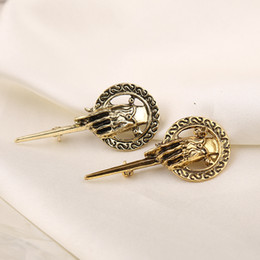 Wholesale Badges Games - New The Song Of Ice And Fire jewelry Game Of Thrones The Hand Of The King Lannister Badge Brooches men pins