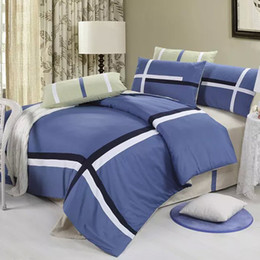 Wholesale Western Queen Bedding - Wholesale-4pcs 100% Cotton Stripe Bedding sets Reactive Printing Twill Queen Size Quilt Duvet Cover Pillowcase Fashion Western Bed sheet