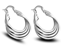 Wholesale Production Jewelry - New earrings, Korean jewelry, 925 silver plated fine jewelry, production and processing of four coil Earrings