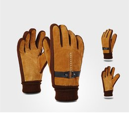 Wholesale synthetic wash leather - Warm Unisex gloves autumn and winter simulation skin wash leather plus fleece warm gloves gloves free ship