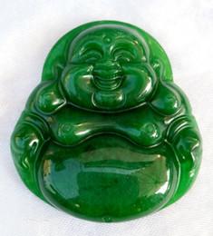 Wholesale Green Jade Circle Pendant - Green Dry Green Citroen raw jade pendant male and female models smiling Buddha pendant Cai Yu brand