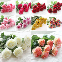 Wholesale Burgundy Decor - 10 Head Decor Rose Artificial Flowers Silk Flowers Floral Latex Real Touch Rose Wedding Bouquet Home Party Design Flowers