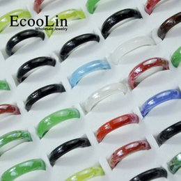 Canada 50pcs EcooLin bijoux résine de verre multicolore femmes filles anneaux beaucoup de couleurs mélangées en vrac packs LR4019 supplier jewelry packs Offre
