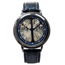 Wholesale Blue Lovers Tree - 2017 new fashion leather belt creative touch screen LED watch women   men with tree dial blue light show time couple watch